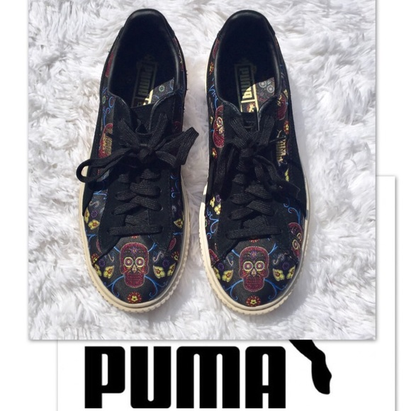 Puma Shoes - Puma 7.5 Basket Sneakers Skull Day of the Dead